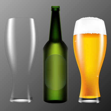 Realistic bottle and a glass of beer. Vector illustration on a gray background. Illustration