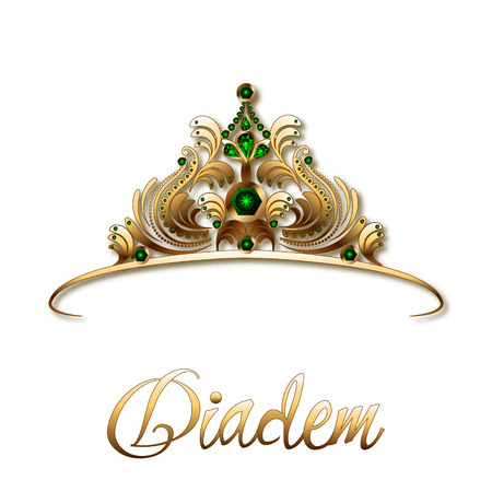 Diadem or crown made of gold and precious stones, emeralds on a white background.