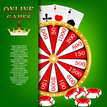 wheel of fortune: Screensaver for online gambling. Wheel of fortune, casino chips, and cards for the game. Vector illustration.