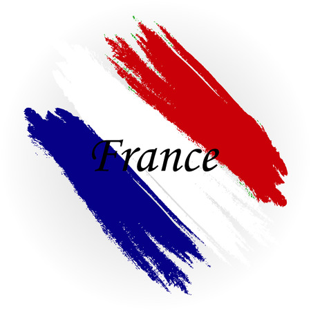 Abstract flag of the country France. A brush strokes on a white background. Vector illustration for labels.