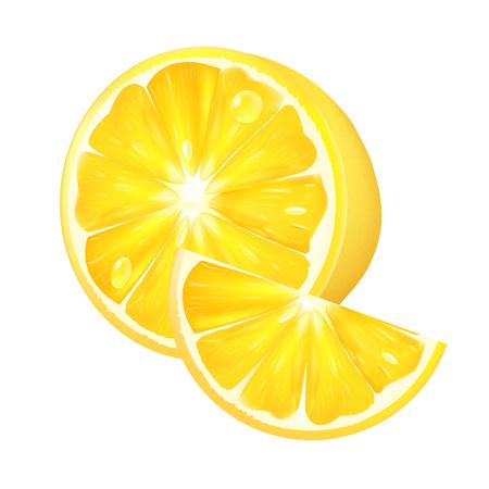 白い背景に現実的なレモン。3 d 分離ベクトル図