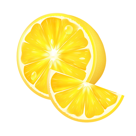 limon: Realistic lemon on a white background. 3d isolated vector illustration
