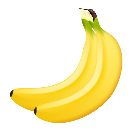 Realistic banana on a white background. 3d isolated vector illustration