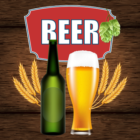 Realistic vector illustration of a hops, beer, a glass, a bottle and wheat on a table background of wooden boards