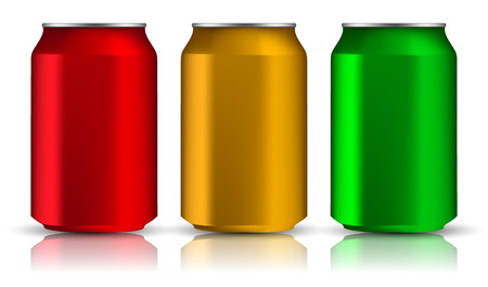 cola canette: Set of realistic aluminum cans. Three metal bottles on a white background. Vector Illusion 3d