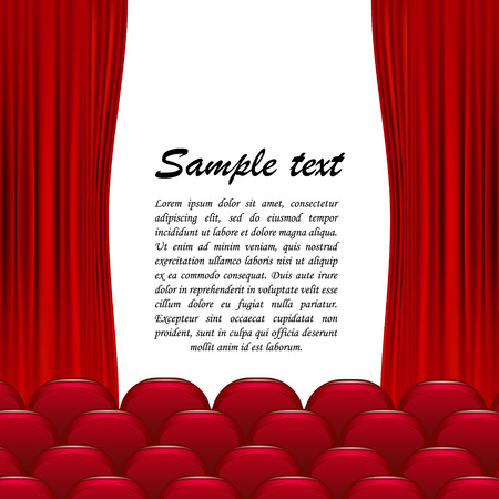 The theater hall with a velvet curtain, red seats and a white background. Vector illustration of a room.