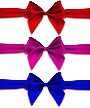 cerulean: Set of bows of satin ribbons on a white background. Realistic vector illustration of 3d