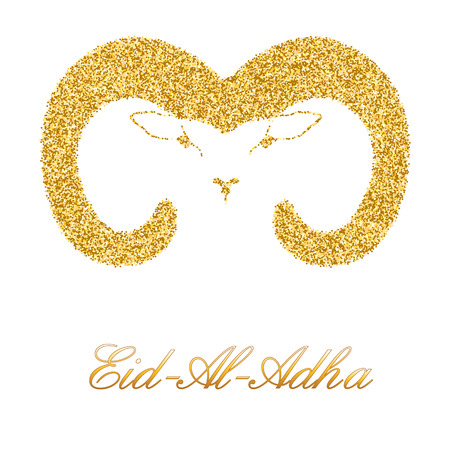 The head of a sheep from golden sequins to an Islamic holiday Aid- Al- Adha. Vector illustration on white background Illustration
