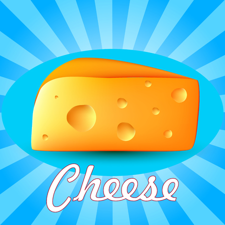 Realistic 3d cheese. Vector illustration on a blue background with the inscription. Illustration