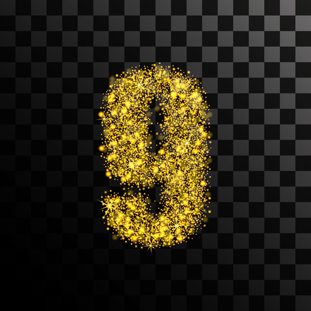 Number nine of gold glitters and glitter. Vector illustration on a transparent dark background. Illustration