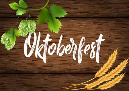 Banner for the Oktoberfest beer festival. Wheat, hops and beer on a wooden background of boards Illustration