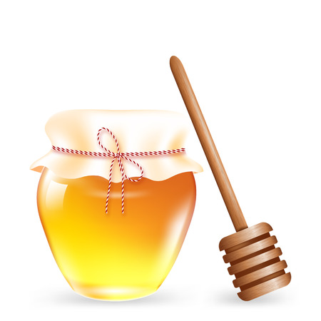 A realistic honey can with a wooden stick. Vector 3d illustration on white background