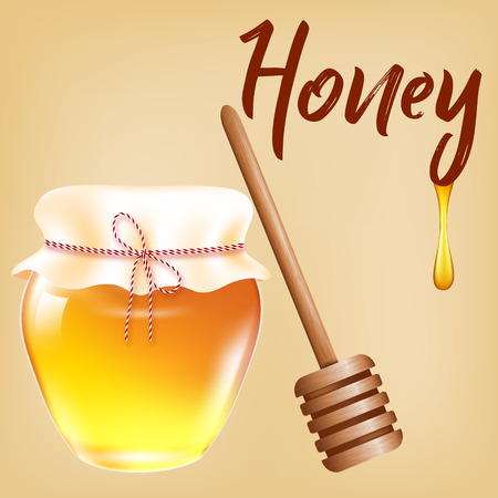 A realistic honey can with a wooden stick and drops. Vector 3d illustration on the background of old postal paper Illustration