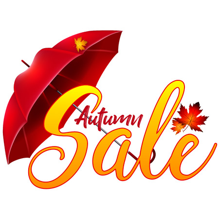 rainy season: Sticker, label or advertisement for autumn sale. Realistic vector 3d illustration with umbrella and yellow leaves Illustration