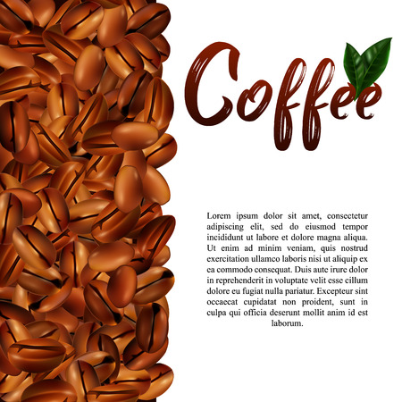 Vector 3d illustration with realistic coffee beans, green leaves and place for text on a white background