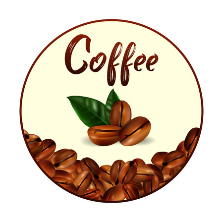 Circle Vector 3d illustration with realistic coffee beans, green leaves and place for text on a white background. Illustration