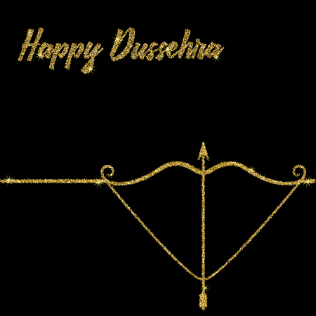 dashamukha: Happy Dussehra. Vector illustration of a bow and arrow to an Indian holiday. The inscription is sequins on a white background.