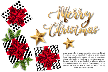 Christmas card or banner with gifts boxes, red bows and fir branches on a white background. Vector illustration with golden lettering