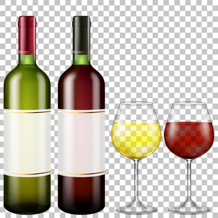 bottles of red and white wine and glasses wine on transparent background