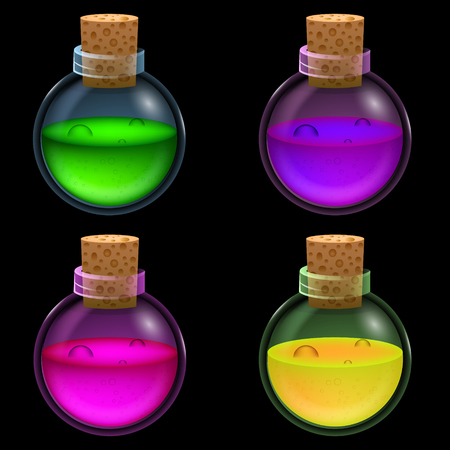 Glass bottles with a potion. Game icon of magic elixir. Vector design for app user interface
