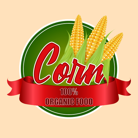 Round label or sticker with corn cobs