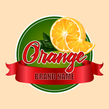 Round label or sticker with the inscription Vector realistic orange. Illustration with a red ribbon.