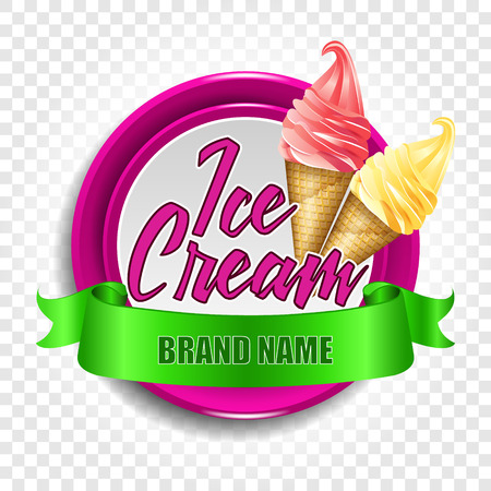 A round logo or a sticker with ice cream in a horn. Vector illustration on a transparent background