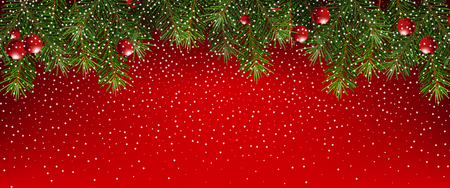 Realistic fir branches on a red background. Christmas banner with snowflakes