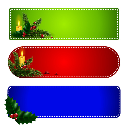 Christmas banner with fir branches, mistletoe, candles and snowflakes