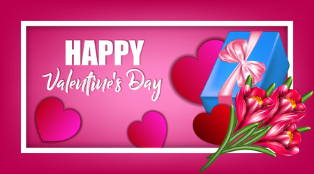 Vector illustration for Valentine's day. Hearts, a pink bow from satin ribbon, a gift box and a bouquet of flowers. Illustration