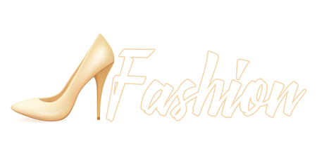Realistic beige shoes on the heel of a boat. Fashion vector illustration