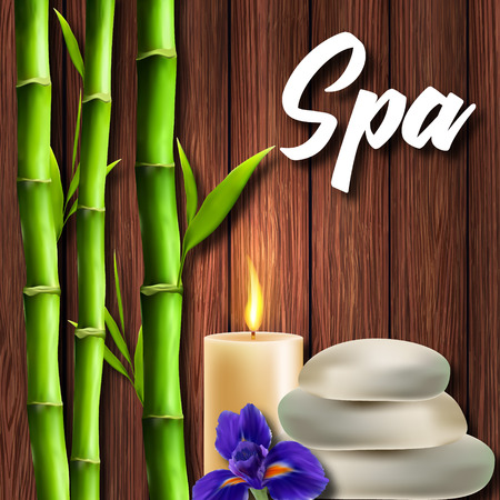 A poster of the Salon Spa. Realistic bamboo on a wooden background Ilustracja
