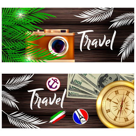 Travel illustration. A camera, palm leaves and a companion on a wooden background.
