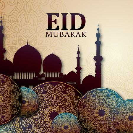 eid mubarak festival premium greeting design illustration