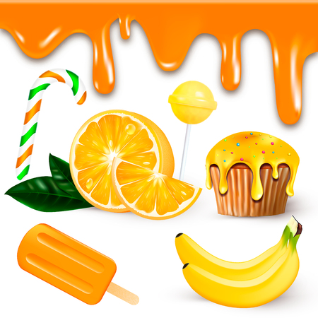 Vector illustration with realistic sweets, fruits, and ice-cream orange 向量圖像