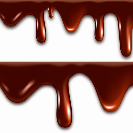 Realistic melted chocolate with dripping drops. Vector illustration