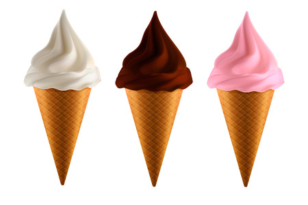 Set of realistic ice cream
