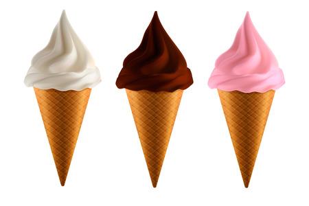 Set of realistic ice cream