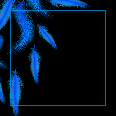 Card or invitation with blue feathers Stock Illustratie