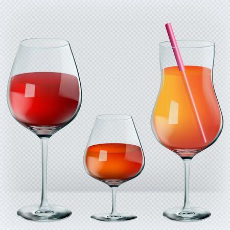Set of drinks in transparent realistic glasses. Wine, cognac, cocktail. Vector illustration.