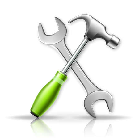 3d vector illustration. Hammer and wrench. Isolated Master tools on white background. Vettoriali