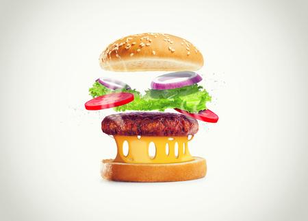 delicious hamburger isolate on white background Imagens