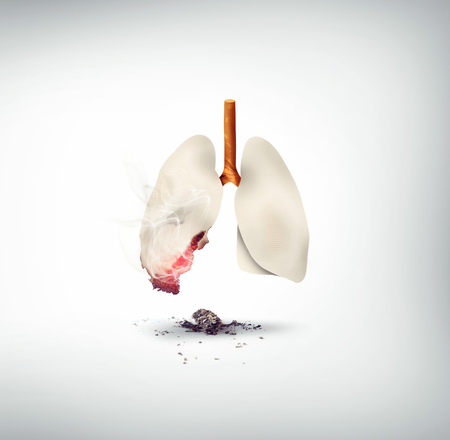smoking kills concept design, lungs made of cigarette  版權商用圖片