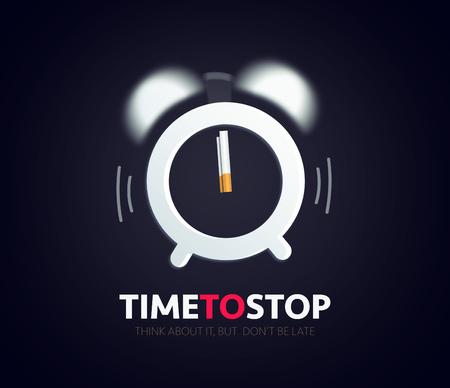 time to stop smoking, clock alarm cigarette