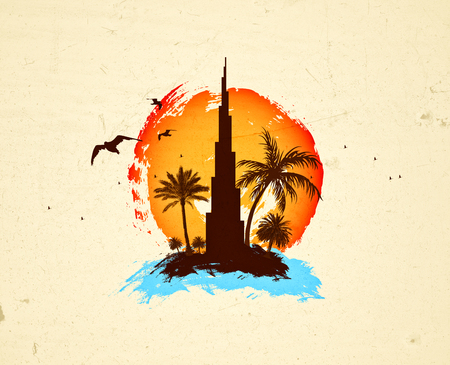 Dubai sunset design, burj Khalifa travel concept Imagens