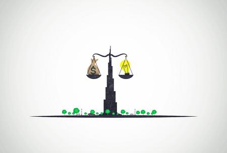 business concept dubai Balance money and ideas