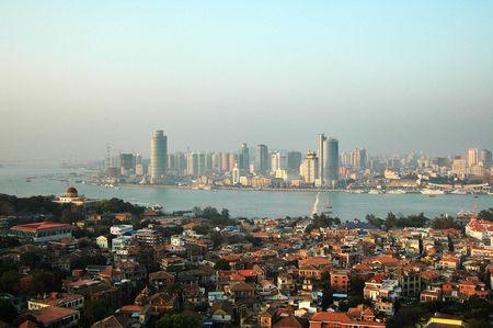 birds eye: birds eye view of the Gulangyu in Xiamen city