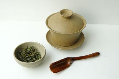 teaset: China tea-set isolated on white background