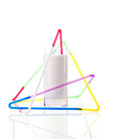 milky drink in triangle of straws, concept of immunity protection, isolated on white Stock Photo - 12696324