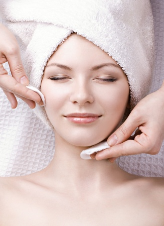 beautiful woman enjoying facial massage Stock Photo